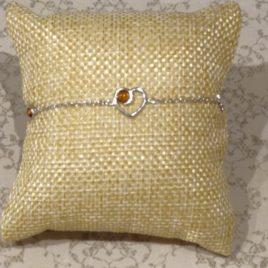 Bracelet argent 925 et ambre de la Baltique