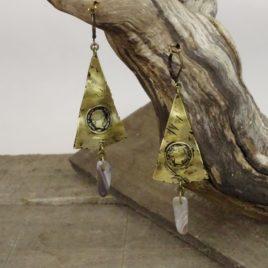 Boucles d'oreilles rustiques et agate grise