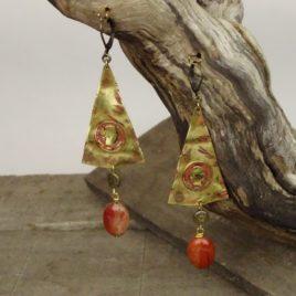 Boucles d'oreilles rustique jaspe rouge