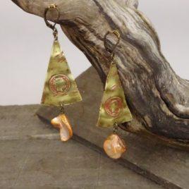 Boucles d'oreilles rustiques et nacre