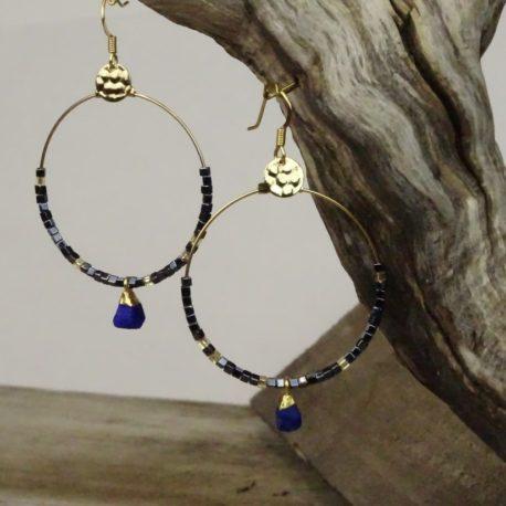 Créoles dorées à l'or fin lapis-lazuli (3)