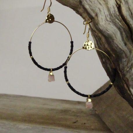 Créoles dorées à l'or fin opale rose (2)