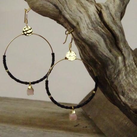 Créoles dorées à l'or fin opale rose (3)