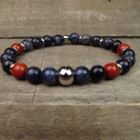 Bracelet sodalite et jaspe rouge