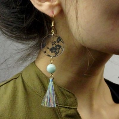 Boucles d'oreilles art déco et amazonite