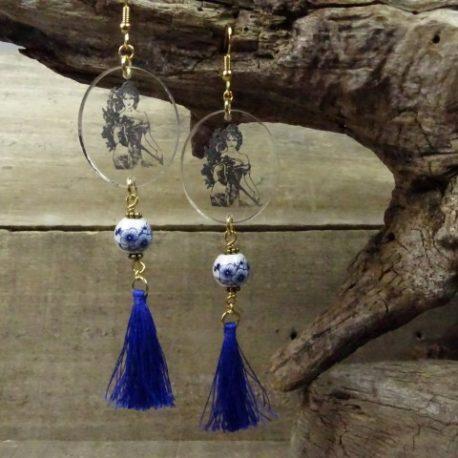 Boucles d'oreilles art nouveau et perle en porcelaine