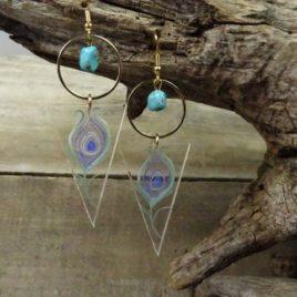 Boucles d'oreilles plume de paon et turquoise
