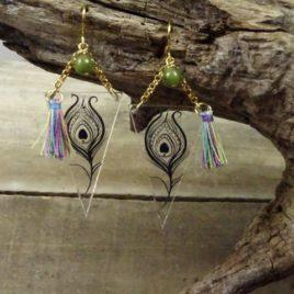 Boucles d'oreilles plume de paon et jade
