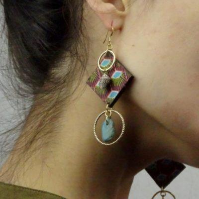 Boucles d'oreilles plumes de paon et turquoise