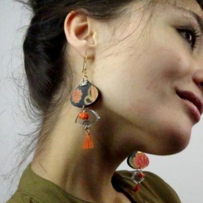 Boucles d'oreilles tissu japonais éventail
