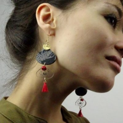 Boucles d'oreilles tissu japonais dragon