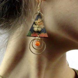 Boucles d'oreilles tissu japonais jade papaye