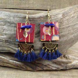 Boucles d'oreilles japonisantes et lapis-lazuli