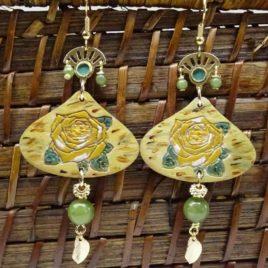 Boucles d'oreilles roses jaunes et jade