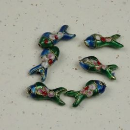 Poisson émail cloisonné bleu