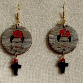 Boucles d'oreilles Frida Kahlo croix en onyx