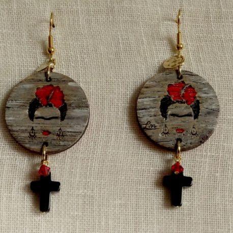 Boucles d'oreilles Frida Kahlo croix en onyx Lm bijoux (2)