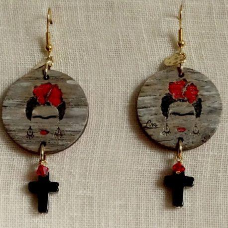 Boucles d'oreilles Frida Kahlo croix en onyx Lm bijoux