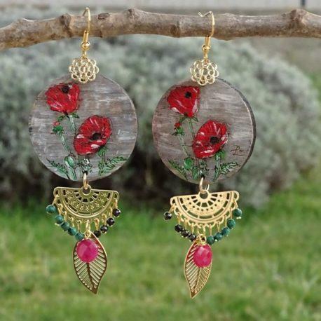 Boucles d'oreilles coquelicots et rubis Lm bijoux