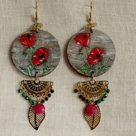 Boucles d'oreilles coquelicots et rubis Lm bijoux (2)