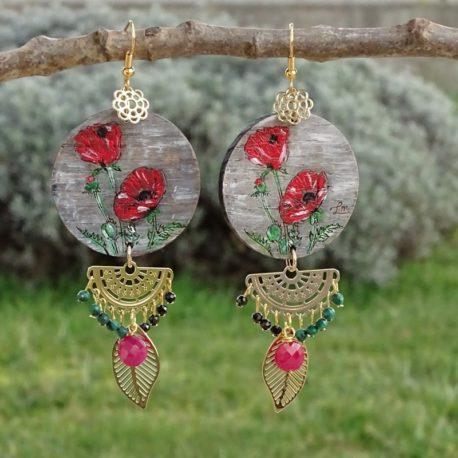 Boucles d'oreilles coquelicots et rubis Lm bijoux (3)