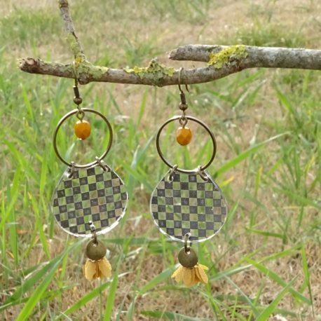 Boucles d'oreilles damier Lm bijoux (2)