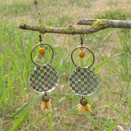 Boucles d'oreilles damier Lm bijoux (3)