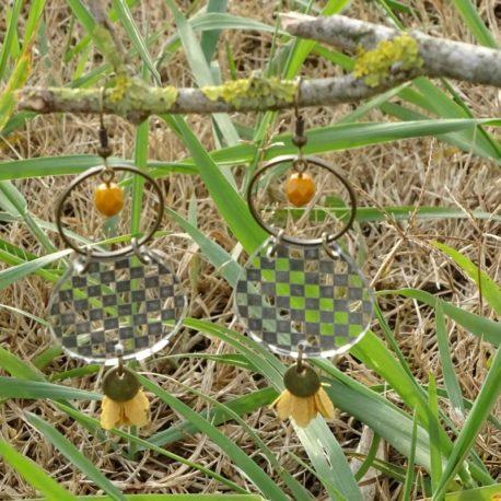 Boucles d'oreilles damier Lm bijoux