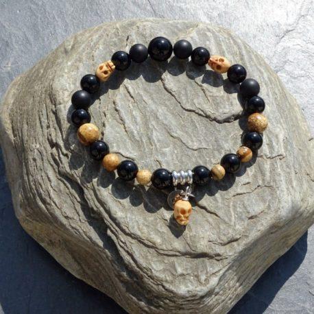 Bracelet œil de tigre jaspe paysagé tête de mort (3)