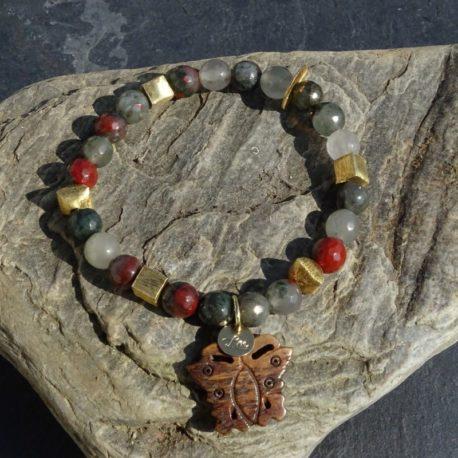Bracelet agate corne et vermeil (3)