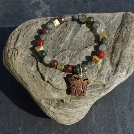 Bracelet agate corne et vermeil