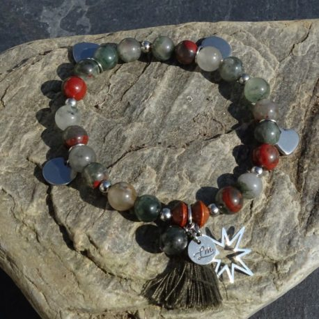 Bracelet agate et acier (2)
