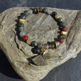 Bracelet agate multicolore et vermeil