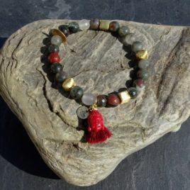 Bracelet agate multicolore gorgone et vermeil