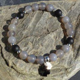 Bracelet agate grise et onyx mat