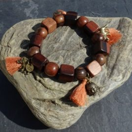 Bracelet cubes et perles en bois de kamagong