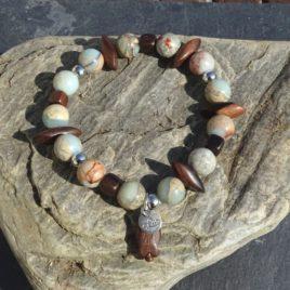 Bracelet jaspe bleu et bois de kamagong