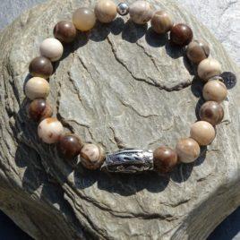 Bracelet homme jaspe brun-beige
