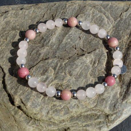 Bracelet quartz rose et rhodonite (2)