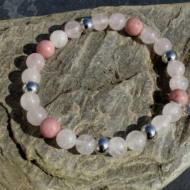 Bracelet quartz rose rhodonite
