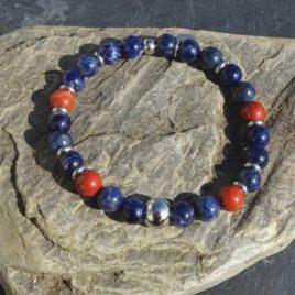 Bracelet homme sodalite et jaspe rouge