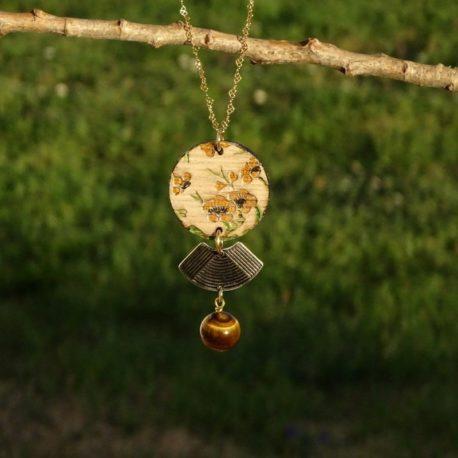 Collier fleurs de cerisier jaunes (3)