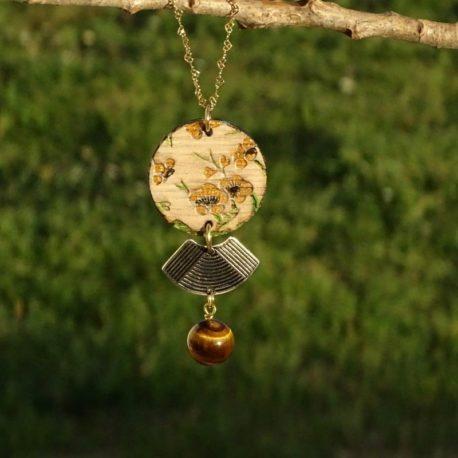 Collier fleurs de cerisier jaunes