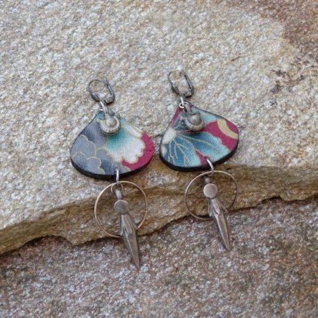 Boucles d'oreilles argent acien, tissu japonais